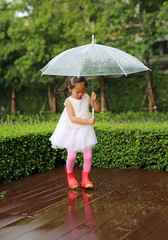Cute little girl with umbrella in the rain.