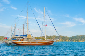 The sailing boats in turkish riviera