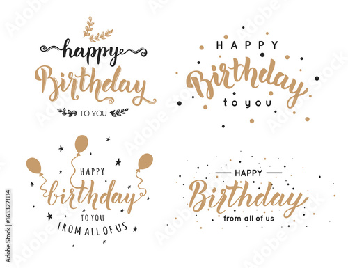 Set Of Happy Birthday Inscriptions Hand Lettering Brush Ink