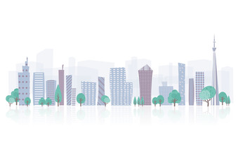 Townscape back image illustration