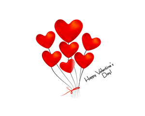 Valentine's Day card bunch of hearts love balloons vector image