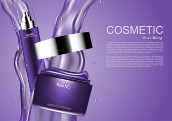 Cream and serum on pouring water with template on purple background vector purple cosmetic collection