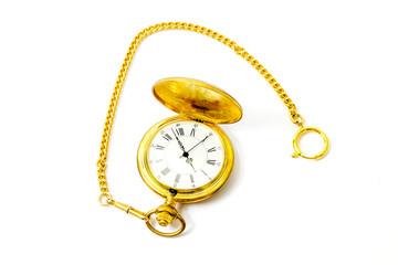 Goldene Taschenuhr mit Uhrenkette