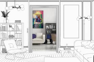 Projekt einer Apartment-Einrichtung (Entwurf)