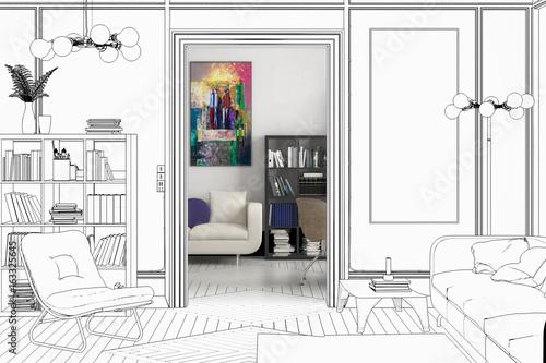 Apartment Einrichtung projekt einer apartment einrichtung entwurf stockfotos und