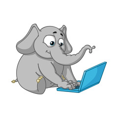 Elephant. Character. Sits at the computer. Work on the Internet. Communication in the network. Big collection of isolated elephants. Vector, cartoon.