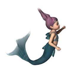 3D Rendering Little Mermaid on White