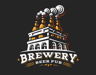Box beer logo- vector illustration, emblem brewery design on dark background