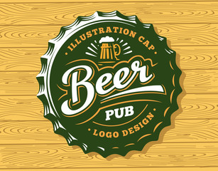 Mug beer logo on cap - vector illustration, emblem brewery design on wood background