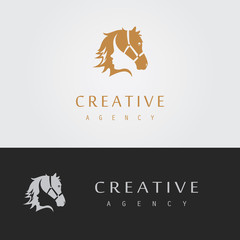 silhouette face woman and horse logo