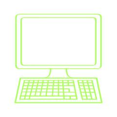 Handgezeichneter Computer in grün