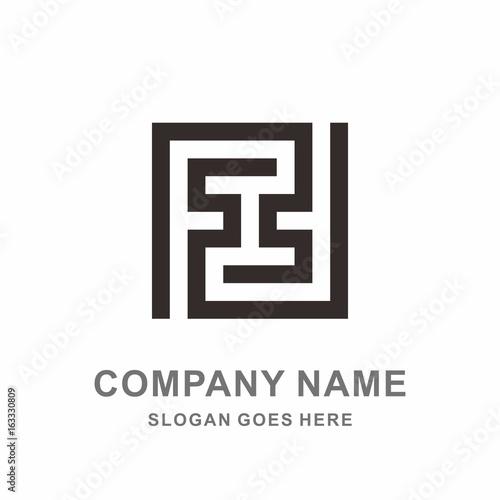 monogram letter f geometric infinity square cube architecture construction business company stock vector logo design template