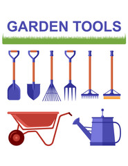 isolated garden tools with grass