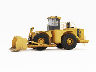 Big yellow buldozer. 3D rendering