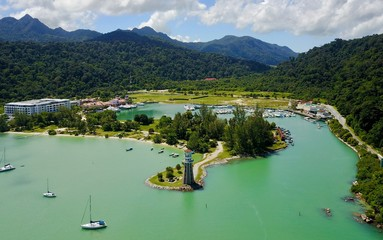 Lighthouse at Langkawi island, aerial view from the drone