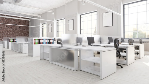 Modern Office Space With City Background