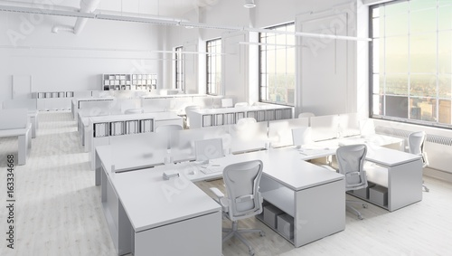 White Modern Office Space With City Background
