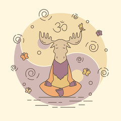 Vector illustration - meditate moose
