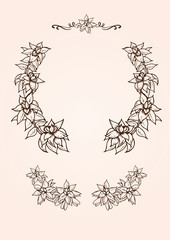 ヴィンテージな植物イラストの飾り枠素材