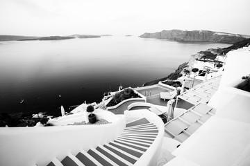 Houses of Santorini in black and white
