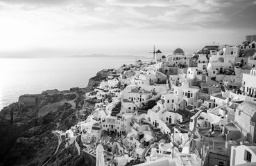 Traditional Santorini landscape in black and white