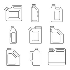 Blank Plastic Canisters. Modern thin line icons set. outline symbol collection. Engine oil. Plastic Packaging for Machine Oil, Water, Milk. Vector.