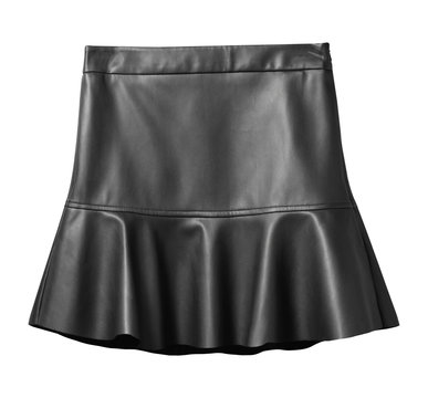 Black leather skirt with flounce isolated on white