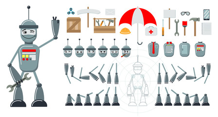 Cartoon robot flat constructor. Set of heads with emoji, bodies, legs, hands. Additional elements - tools, umbrella, phone, spinner, box, envelope, notebook, signboard. Vector illustration.