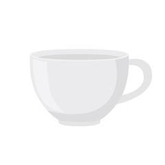 White tea cup in cartoon flat style. Vector illustration