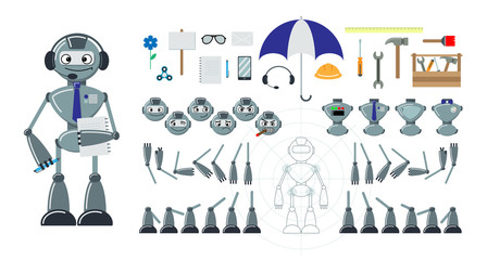 Cartoon robot flat constructor. Set of heads with emoji, bodies, legs, hands. Additional elements - tools, umbrella, phone, spinner, flower, envelope, pen, notebook, signboard. Vector illustration.