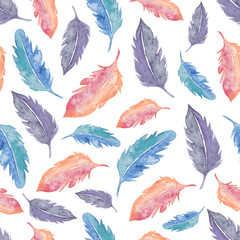 Watercolor seamless pattern with feathers. Watercolor colorful background. Watercolor texture.