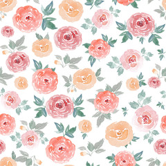 Watercolor seamless pattern with roses. Watercolor floral background. Wedding flowers texture.