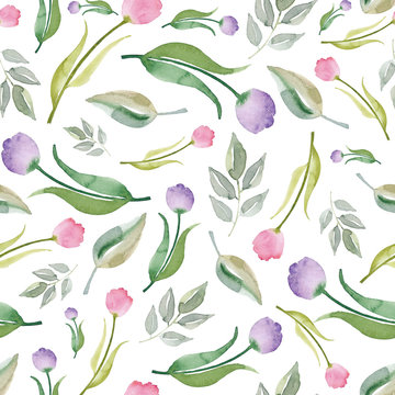 Watercolor seamless pattern with tulips. Watercolor tulip background. Spring texture.