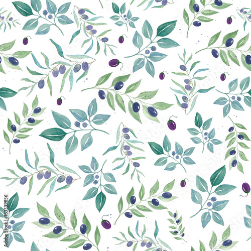 f2657ae70c64 Watercolor seamless pattern with olives. Watercolor floral ...