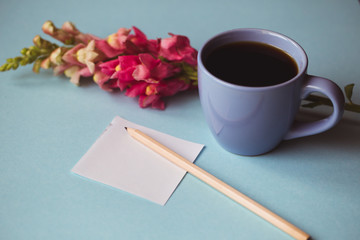 Coffee cup with spring flower and notes good morning on blue background