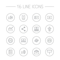 Set Of 16 Trade Outline Icons Set.Collection Of Brand Awareness, Target, Client Brief Elements.