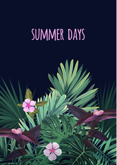Floral vertical postcard design with tropical flowers, monstera and royal palm leaves. Exotic hawaiian vector background.