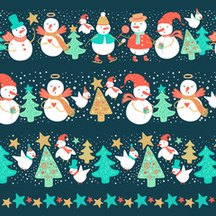 Vector illustration of holidays snowman with Christmas tree, candy, snowflakes, gift. Christmas and New Year set for design.