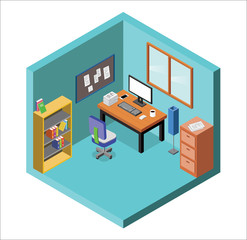 Isometric office interior A vector illustration of an office desk with PC and chair.