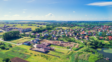 Small village in the countryside on top view shot from a drone.