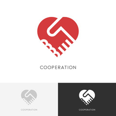 Cooperation business logo - two hands make a deal and heart symbol. Handshake, partnership and love vector icon.