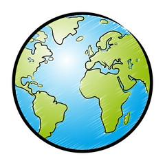 Farbige Zeichnung Globus / schraffiert, Vektor, freigestellt