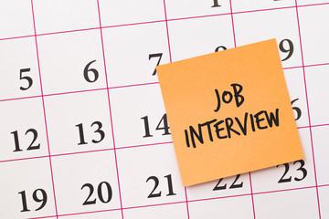 Job interview reminder on calendar