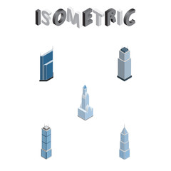 Isometric Skyscraper Set Of Residential, Apartment, Tower And Other Vector Objects. Also Includes Skyscraper, Exterior, Building Elements.