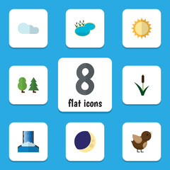 Flat Icon Nature Set Of Forest, Bird, Solar And Other Vector Objects. Also Includes Lagoon, Pond, Reed Elements.