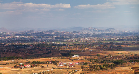 View towards Antananarivo seen from the royal hill Ambohimanga in Madagascar