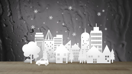 Eco City with Snow on sepia Abstract Water Background