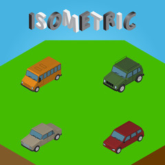 Isometric Automobile Set Of Armored, Auto, Autobus And Other Vector Objects. Also Includes Car, Auto, Armored Elements.