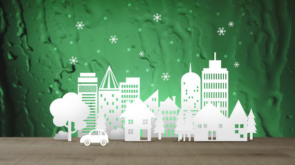 Eco City with Snow on Green Abstract Water Background