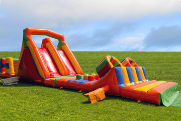 Inflatable big slide in playground